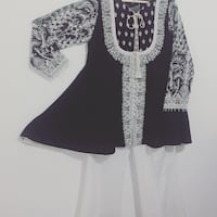 White and black embroidery outfit with matching boot cut same as green outfit. Brand new haven't used.
