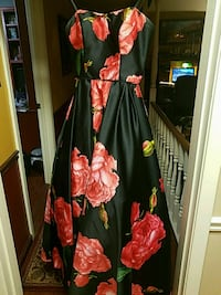 women's black and red floral sleeveless dress