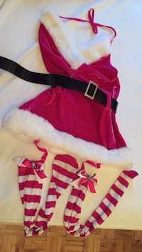 girl's pink-and-white santa costume