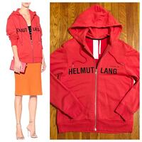"New! Helmet Lang hoodie paid $495 size authentic! Excellent condition. Style ""Red Champaign"" print hoodie. Fabric 100% cotton this is a unisex hoodie. The men's fit is regular and women's fit is an oversized look."