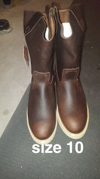 size 10 pair of brown leather mid-calf boots
