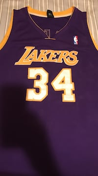 Purple and Yellow Shaq O'Neal 34 Lakers Jersey New York, 11429