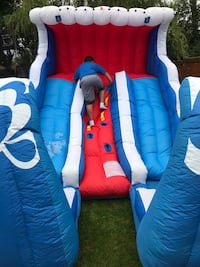 Double water slide, inflatable with basketball nets Brampton