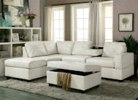 white leather sectional sofa with ottoman Laurel, 20708