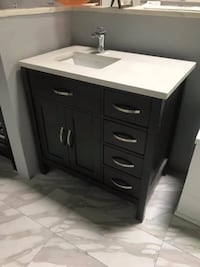 "36"" Contemporary Bathroom Vanity Single Sink Cabinet in Anthracite Custom Fabricated Almond Quartz"