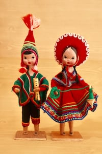 "Andean Collectible Handcrafted Figurines Set of 2 . Peruvian Dolls traditional dresses  8"" Height Springfield, 22150"