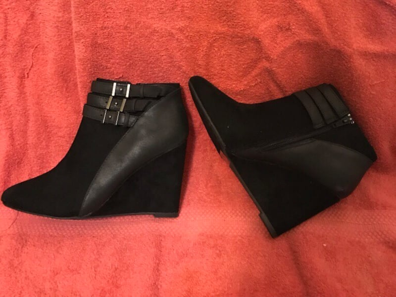 New Sophisticated Black Suede Wedge Ankle Boot - 8.5  a4954b72-8ede-431d-882c-4d59e437bc2e