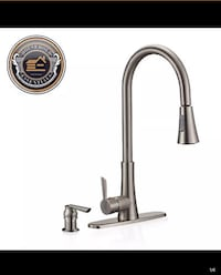 """19"""" Brushed Nickel Pull Down Kitchen Faucet with Sprayer and Pump Dispenser ..... CHECK OUT MY PAGE FOR MORE ITEMS Baltimore, 21206"""