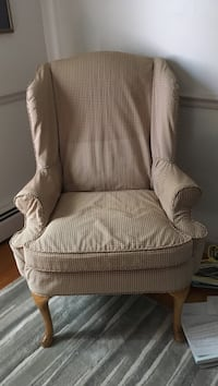 white and brown fabric sofa chair South Portland, 04106