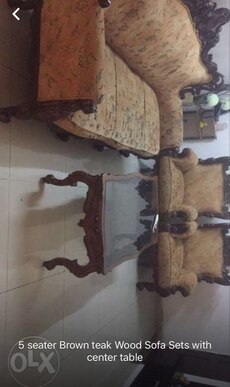 5 seater brown teak wooden sofa set with center table