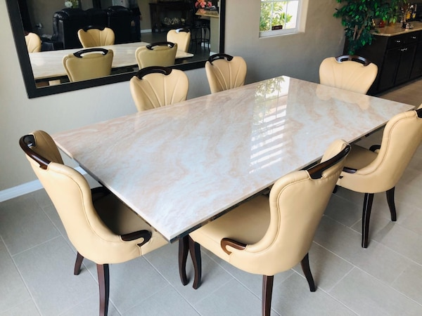 7pc Beige Marble table•Delivery and installation•No credit check 2bbaecec-ec85-43ac-b52f-6a2ea83094b3