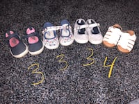 Toddler's four pairs of shoes