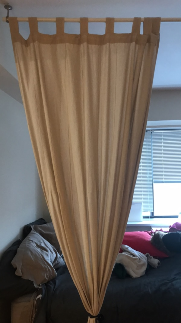 IKEA Ivory Cotton curtain with polo and hook