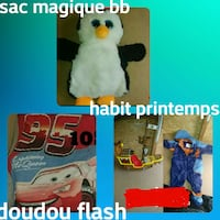 white and black penguin plush toy, red Lightning Mcqueen bed sheet, and brown Jake and the Neverland Pirates ship toy collage Joliette