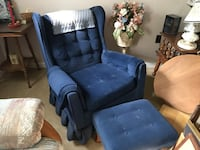 Royal Blue Swivel Rocking Chair with Matching Ottoman Hunt Valley, 21031