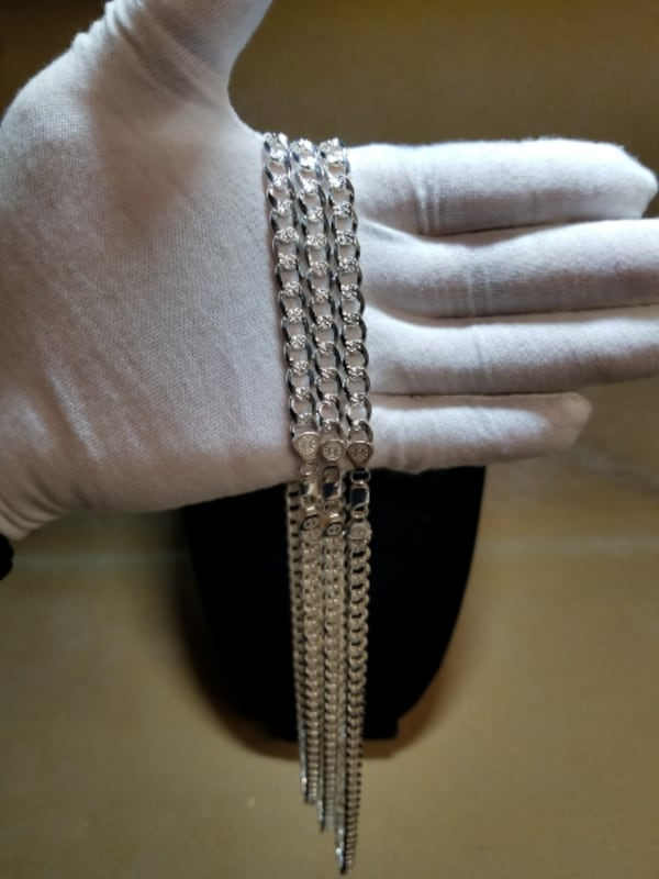 Cuban Curb Link Chain Diamond Cut Necklace .925 Sterling Silver 7mm 7