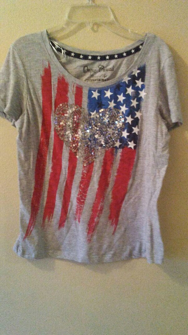 gray US flag printed Sequin Heart t-shirt