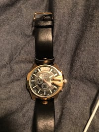 Gold Curren watch with black leather strap Calgary, T2T 5B7
