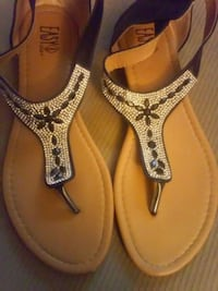 pair of brown leather thong sandals Redding