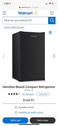 Hamilton Beach Mini Fridge Toronto, M3C 2G6