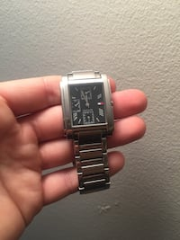 rectangular Tommy Hilfiger chronograph watch with silver strap