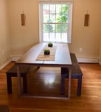 **REDUCED** Modern oak dining table (seats 8 w ample room) Damascus