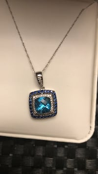 Le Vian necklace 14k with real blue topaz, diamond and real sapphires Revere, 02151