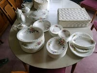 white-and-pink floral ceramic plate, saucer, bowl, and cup lot