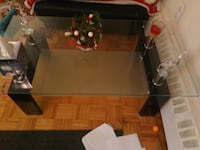 rectangular glass-top table with black steel base 542 km