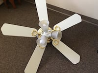 Hamptom Bay white ceiling fan with gold accents and light kit. Princeton, 08540