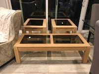 Glass wood coffee table end table