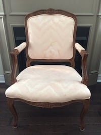 White and brown wooden armchair Brampton, L7A