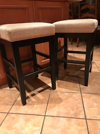 two brown wooden framed white padded stools Markham, L3P 1R7