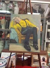 painting of man in yellow long-sleeved shirt sitting on brown wooden armchair