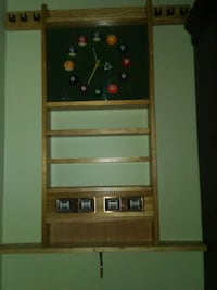 Pool style wall mount, clock,.score counter,&pool stick rack