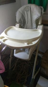 gray and white high chair