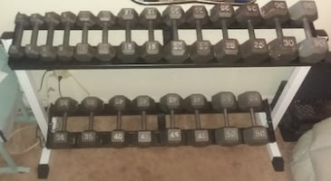 Complete Set Hex Iron Dumbbells with Rack: 566 Pounds Total (5 - 50)