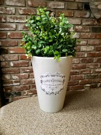 French country vase with faux plant