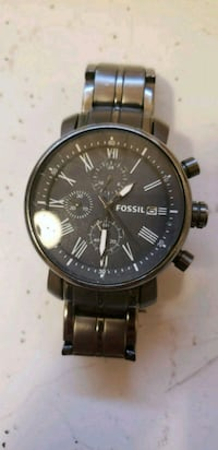 round black Fossil chronograph watch with link bracelet Placentia, 92870