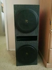 """2x12"""" Kicker Comp subwoofers + vented box w/grills"""