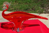Rare Orange Rooster Art Glass-Made in Montreal by EDAG-Beautiful Piece Saint Marys