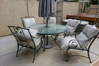 round black metal framed glass top patio table set Henderson, 89014