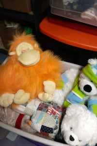 Tote filled with stuffed animals