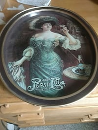 brown metal woman wearing green dress print oval decorative plate Victoria, V9A 3M7