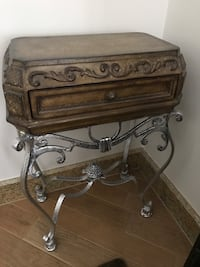 Console/end table wrought iron legs, carved wooden top with drawer Vaughan, L0J 1C0
