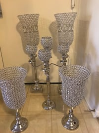"5 pieces new silver crystal candle holder centerpiece sizes from the back 37"" tall middle 30"" tall front 22"" tall click on my profile picture on this page to check out my other listings message me if you interested pick up in Gaithersburg Maryland 20877 Gaithersburg, 20877"