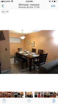 Moving sale!!  Solid wood dining table along with 4 chairs and bench!! Richmond, V7A 3B5