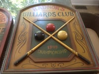 Radnor Billiards carved sign and a no smoking carved sign $25.00 each exceptional condition  Ajax, L1T 3S4