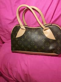 fbeb08a88ab9 black and brown Louis Vuitton monogram leather handbag