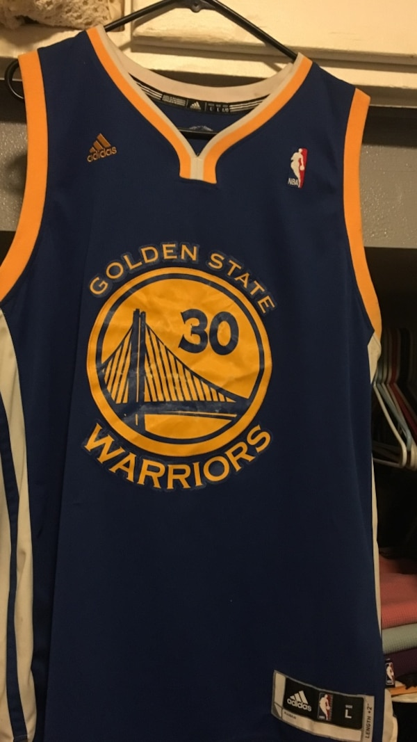 more photos 07551 6bb75 blue and yellow Adidas NBA Golden State Warriors Stephen Curry basketball  jersey